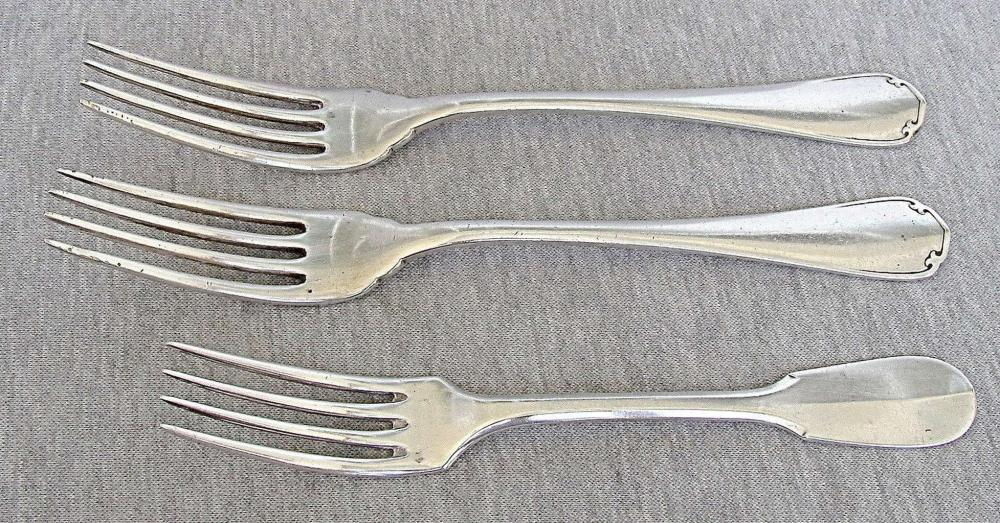 CHRISTOFLE French antique 3 silver plated forks, signed