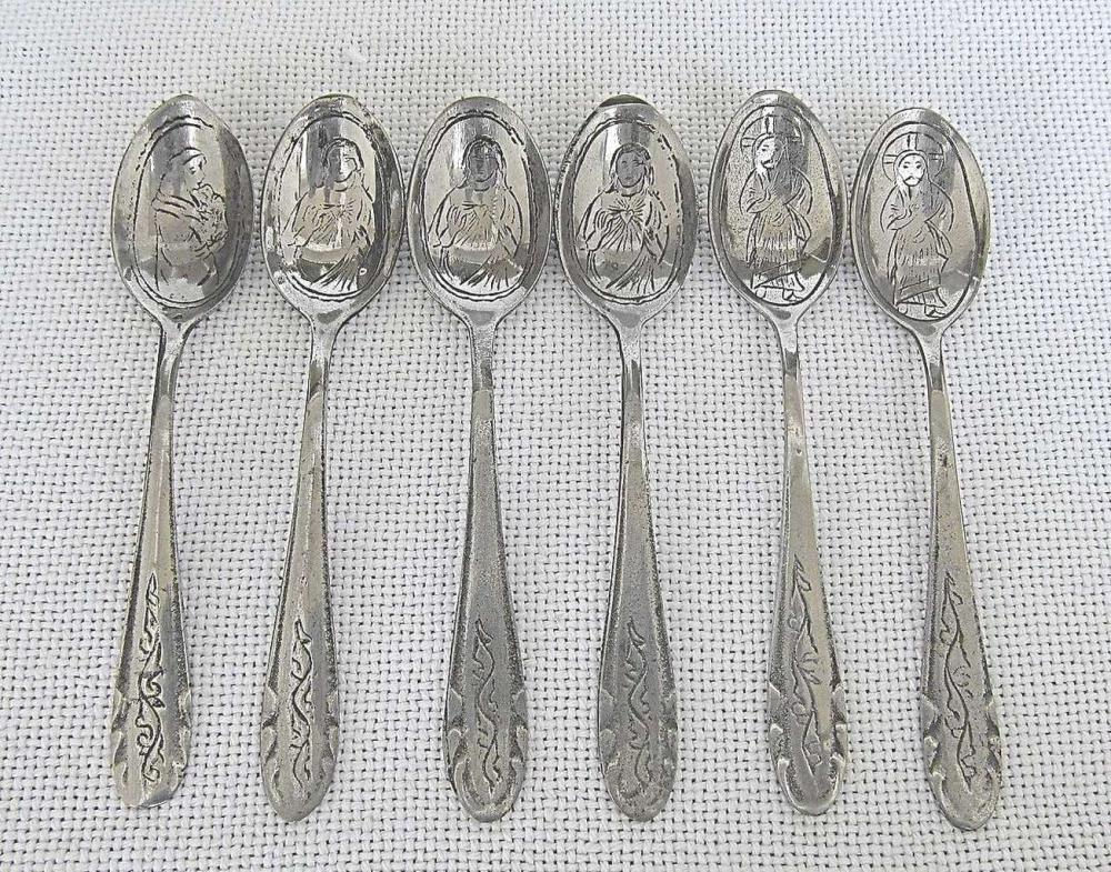 Antique Silver plated Set 6 Tea Spoons with Christian Symbolic Signed in Arabic