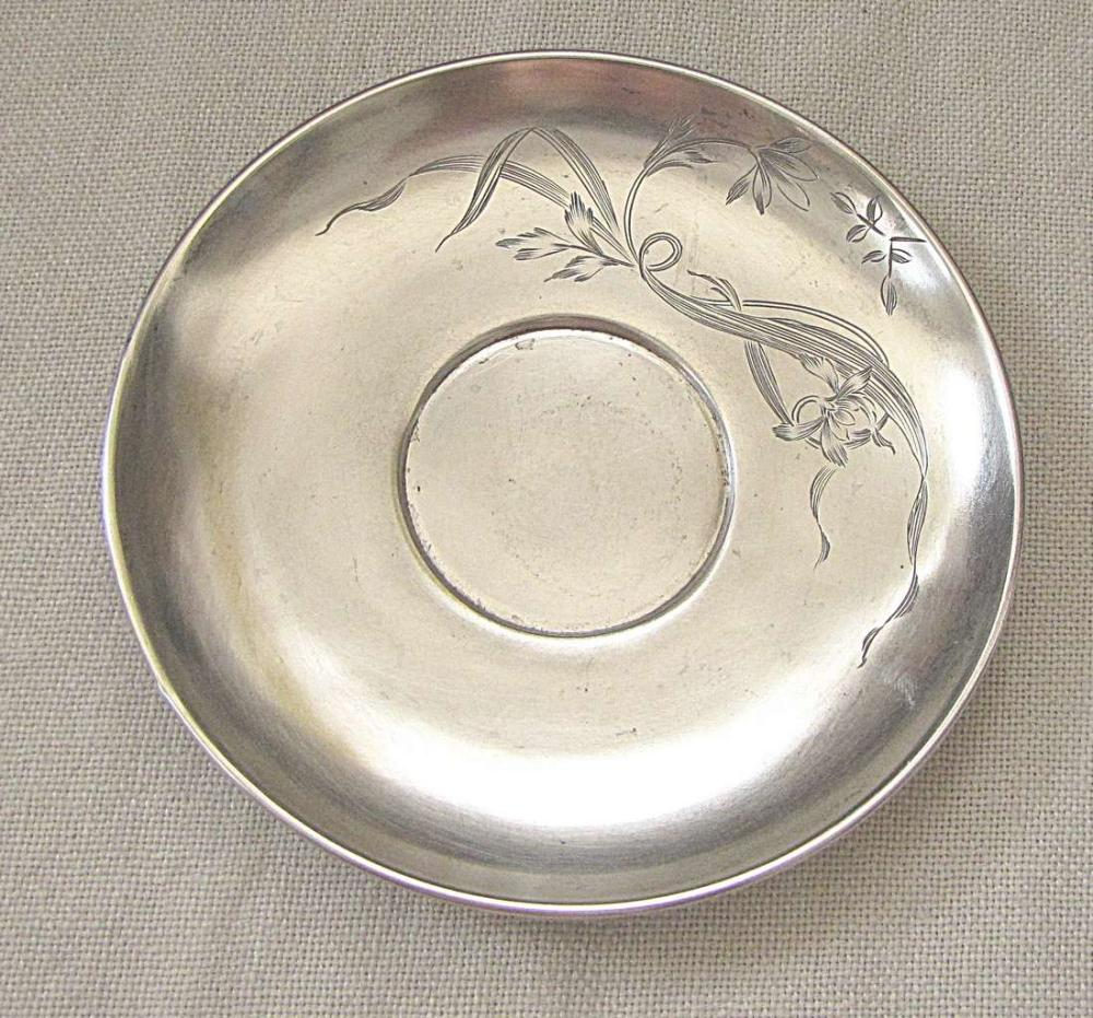 Russian art nouveau silver 84 engraved plate saucer, pre 1917, 59gr., signed, Moscow