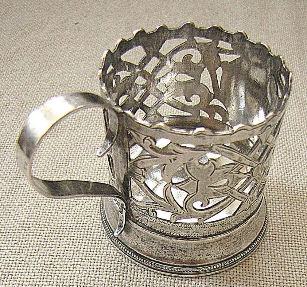 Russian art nouveau silver 84 miniature glass holder, signed, pierced, monogram, 41 gr.