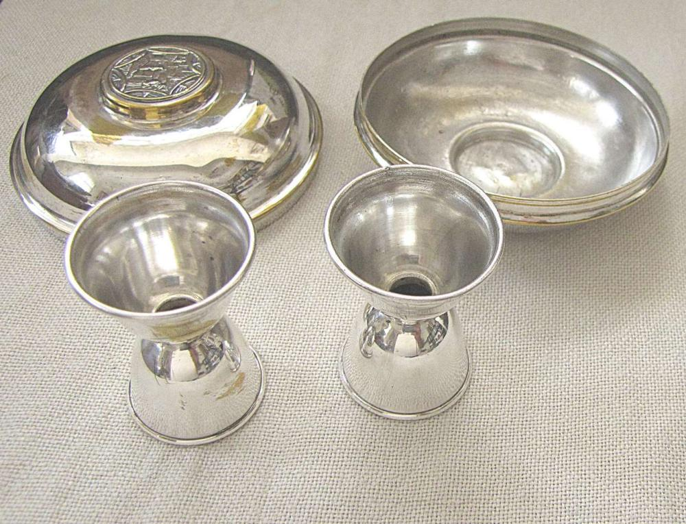 Old  Silver plated Travel pair of Shabbat Candlesticks, signed, in box with Western wall on box, Jerusalem