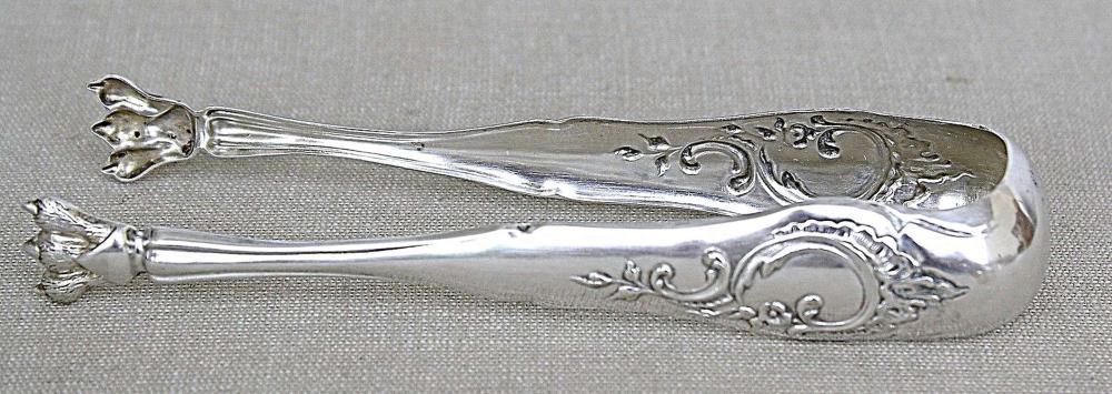 German antique silver 800 Lion's paw sugar tongs, signed, 27 gr., 19th cen. Repousse, Engraving