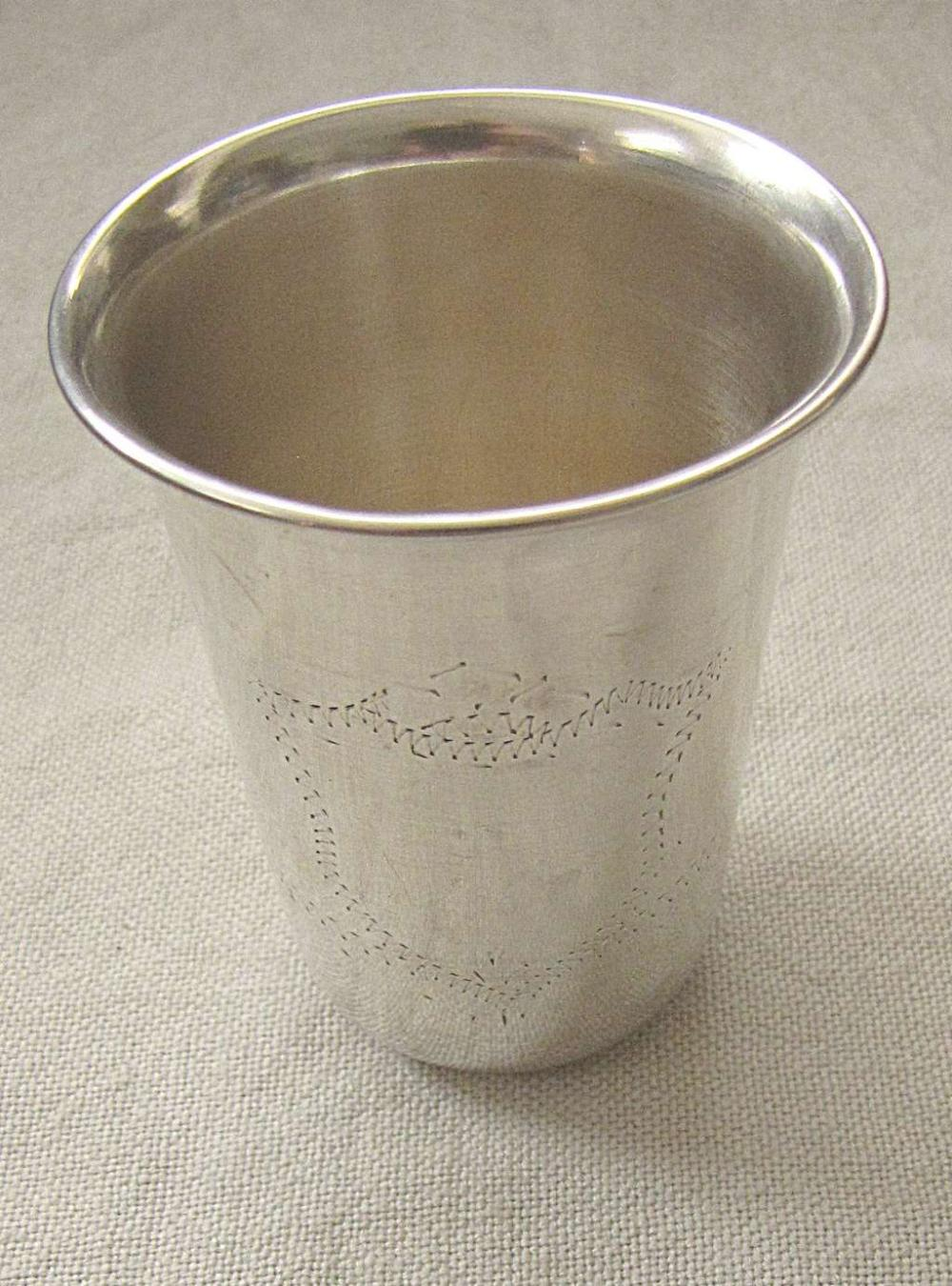 Old silver 800 kiddush cup with engraved cartouche, 42 gr., Hazorfim, Israel, 1950s