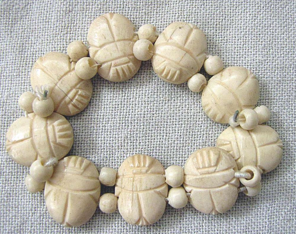 African Antique carved scarabeus bracelet