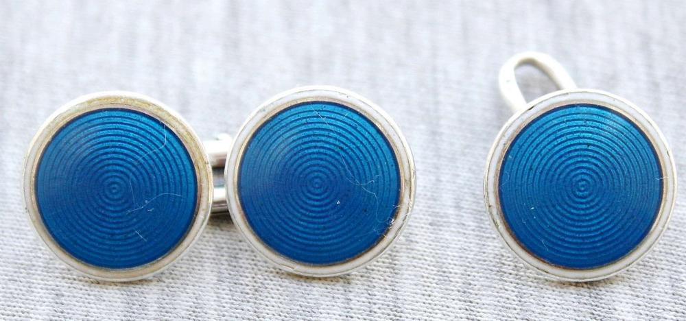 French art deco guilloche enameled silver sterling 950 W&A cufflinks, signed, not complete