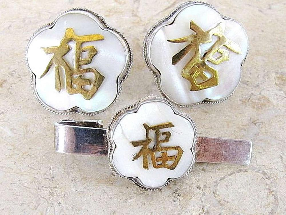 Vintage silver 900 cufflinks and tie clip set with mother of pearls and hieroglyphs, Hong Kong, 19gr.