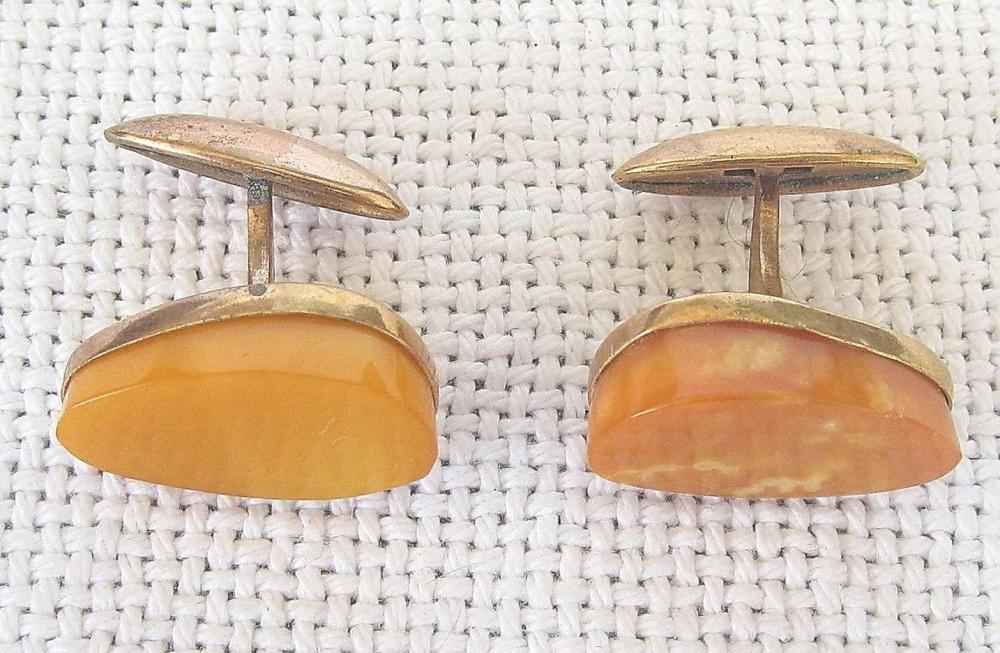 Russian soviet vintage butterscotch amber gold plated cufflinks, 1960s