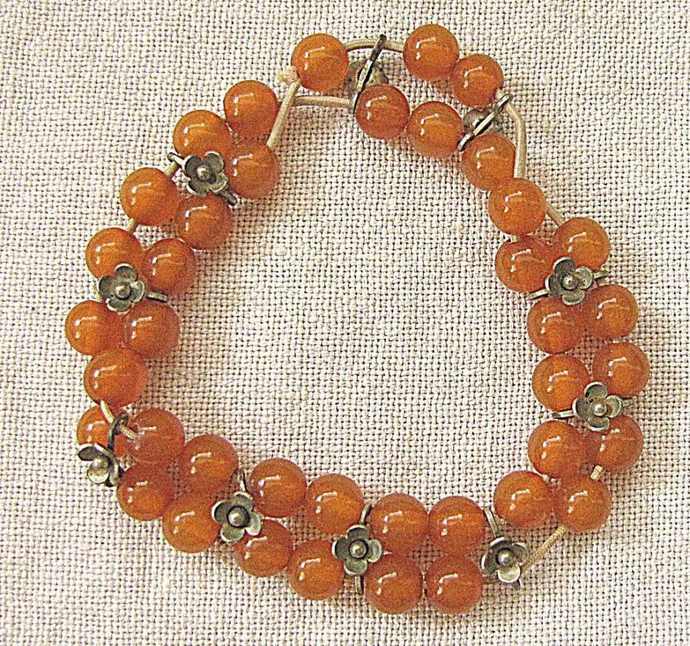 Russian soviet vintage 2 strain amber bead bracelet  with silver plated links