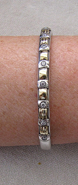 Vintage Gold 750 18K and silver sterling 925 bangle bracelet set with zircon stones, 16 gr.