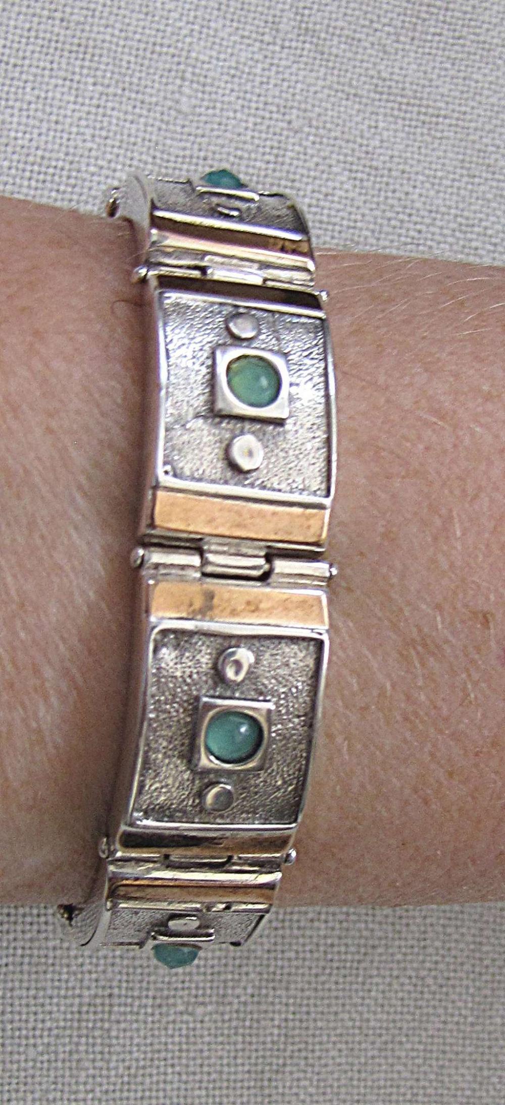 Vintage Gold and silver sterling 925 link bracelet set with jade, 35 gr.
