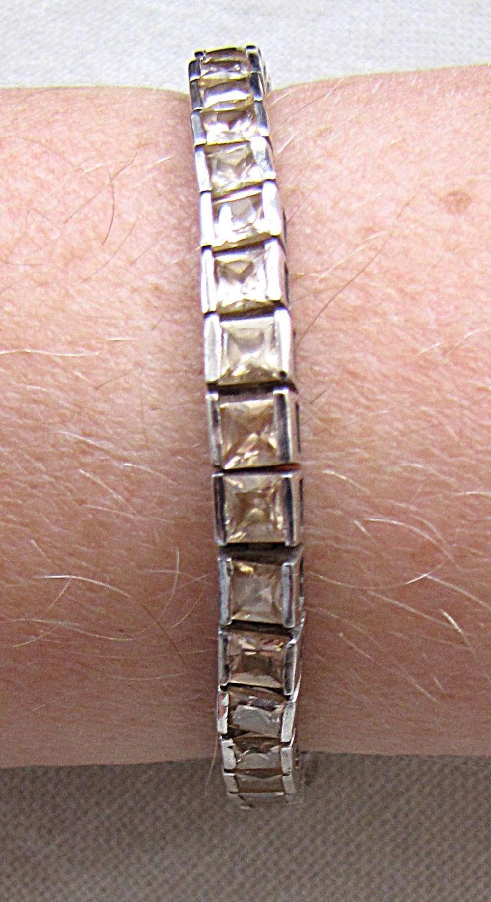 Vintage silver sterling tennis bracelet set with yellow zircon stones, 21 gr.