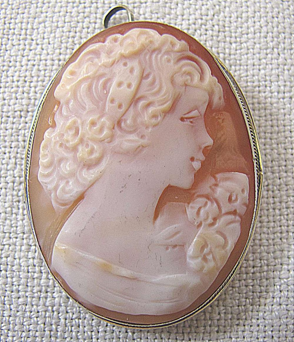Victorian antique gilt silver carved shell cameo brooch / pendant Size: 3.8  x 3 cm., weight: 7 gr.