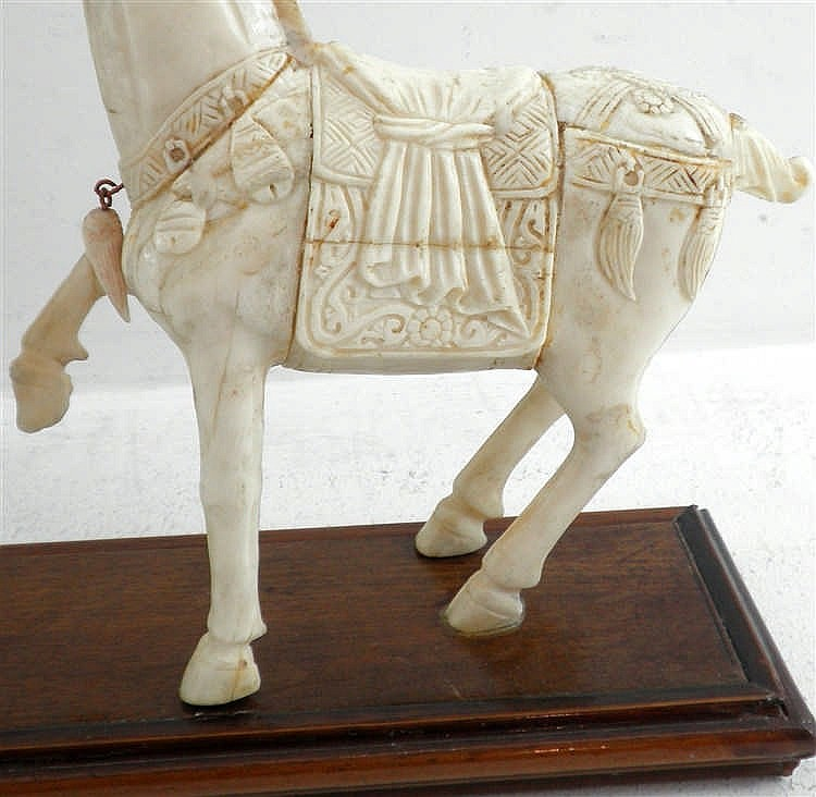 Two Horses Old Bone Carvings