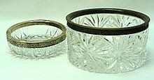 Lot of two crystal bowls decorated with silver-plated rings