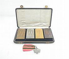 Lot 5 rare Belgian sport medalsof the Jew Alex Michaelsen, 4 of them designed by G. Devreese