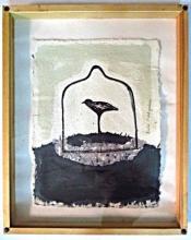 Rachel Matityahu, Indian Ink /paper, bird in glass, signed, 39x30cm., framed.
