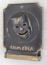 Old ?Dayagi? bronze one bookend w/ theatrical mask comedia