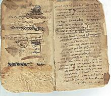 Antique kabbalistic manuscript, 10pp., 18x11cm., damaged