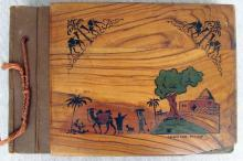 Bezalel olive wood photoalbum, 90 photos, Haifa, 1944 w/ painted Rachel?s tomb