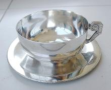 Mexican art deco cup & saucer, silverplated.