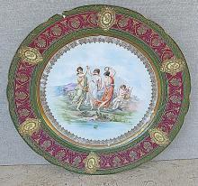 Royal Vienna Antique Porcelain Plate, marked, damaged.