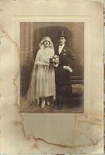 Antique large cabinet wedding photo of a jewish couple, signed
