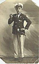 Old photo of a jewish boy in captain's suit, 1932, Hebrew