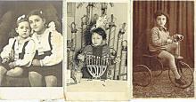 3 antique photos of jewish children, Tel-Aviv, Palestine.