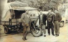 Antique group photo. Loaders in Tel-Aviv, 1930s
