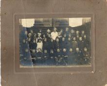 Antique group photo of school class, Poland, 1930s