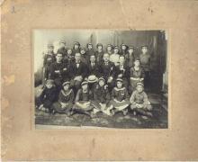 Antique group photo of jewish gymnasium/ school, Poland, 1930s