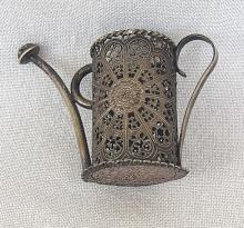 Low Silver Watering can, filigree, miniature