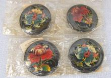 4 Russian Soviet brooches, hand painted