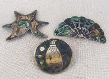 3 Mexican Taxco silver brooches, 26gr.,damaged