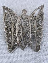 Antique Yemenite silver butterfly brooch, 19gr., damaged