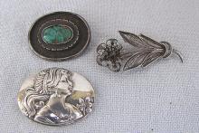 3 vintage silver brooches,  24.4 gr., damaged