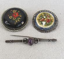 3 vintage brooches, 2 silver and one hand painted