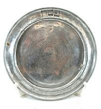 Antique Pewter Passover Plate 1860 Signed