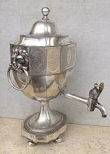 Antique Silverplated Samovar w/Lion Faces, 19th cen.