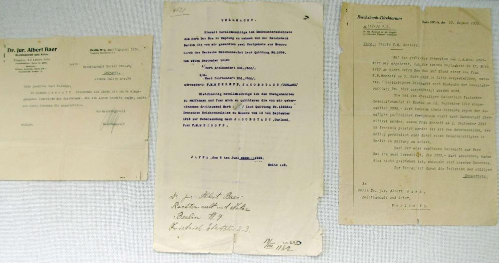 3 ORIG. DOCUMENTS OF F.M. MEEROFF INCLUDING POWER OF ATTORNEY FOR DOV HOS, IN GERMAN, 1932