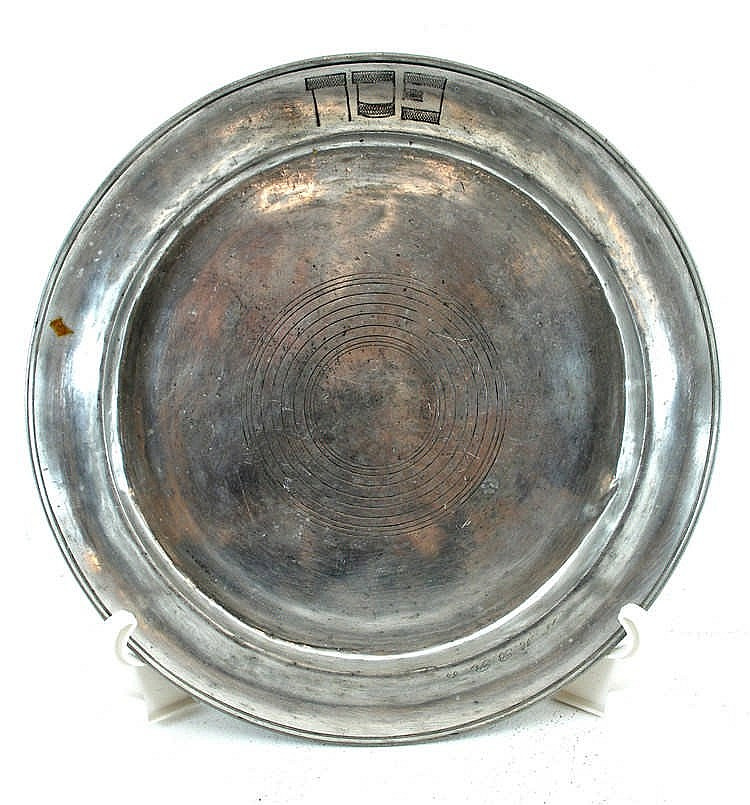 Antique Pewter Plates : Antique pewter plate with the inscription passover