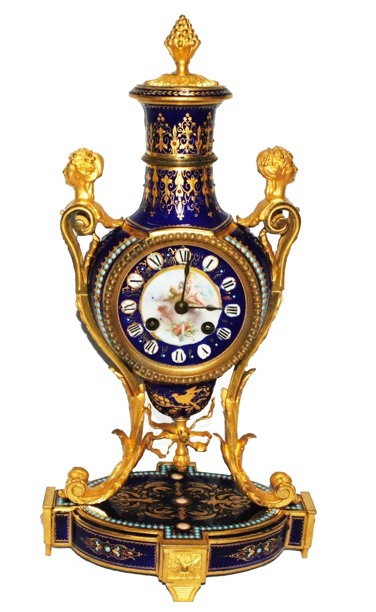 French Sevres Porcelain Gilded Age Bronze Newport RI Estate Clock