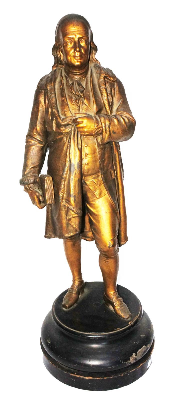 Circa 1876 American Portrait Statue of Patriot Benjamin Franklin