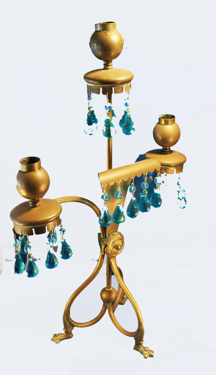 American Aesthetic Movement Brass Candelabra