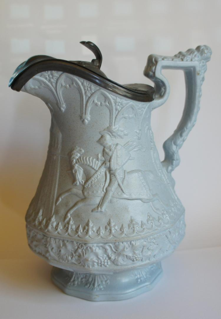 English Ridgway Gothic pitcher with pewter lid 1840