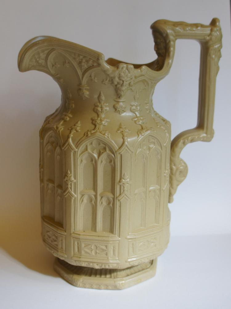 Meigh  English Gothic pottery Pitcher circa 1842
