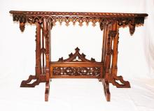 American Victorian Octagonal Gothic Center Table