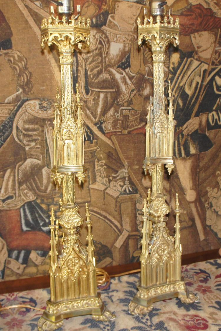 Pr. French Gilt Bronze Gothic Pricket Candlesticks
