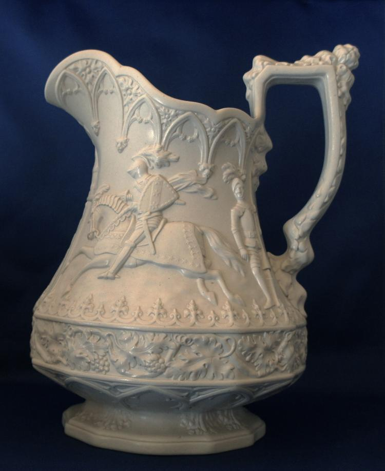 English Gothic Knight Ridgway 1840 Salt Glaze Pitcher