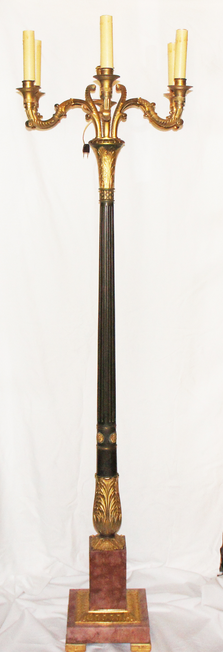 Circa 1905 Gilt Bronze and Marble Caldwell Style Torchiere